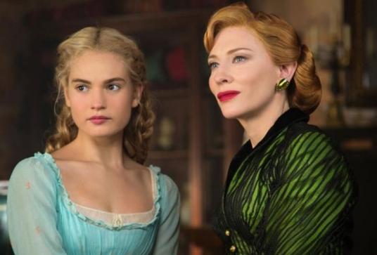 Lily James as Cinderella and Cate Blanchett as Lady Tremaine