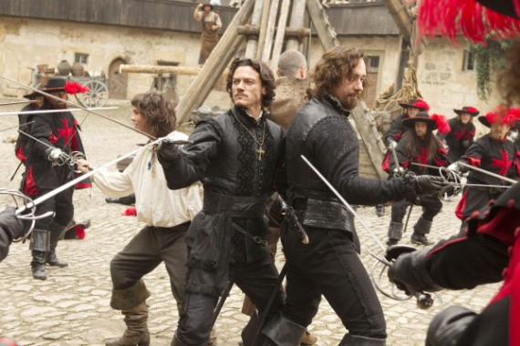 (L to R) LOGAN LERMAN, LUKE EVANS, RAY STEVENSON (back to camera) and MATTHEW MACFADYEN star in THE THREE MUSKETEERS. Ph: Rolf Konow, SMPSP © 2011 Constantin Film Produktion GmbH, NEF Productions, S.A.S., and New Legacy Film Ltd. All rights reserved.